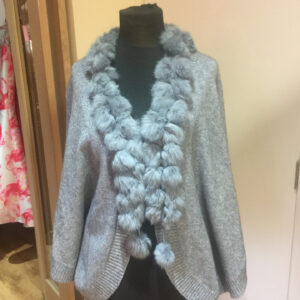 Ladies Italian Pom Pom Poncho in Grey