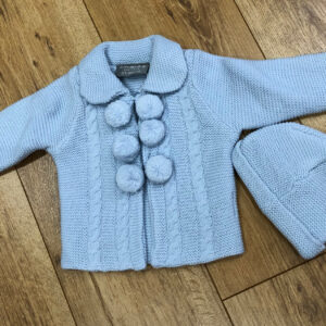 baby knitted cardigan and matching hat set