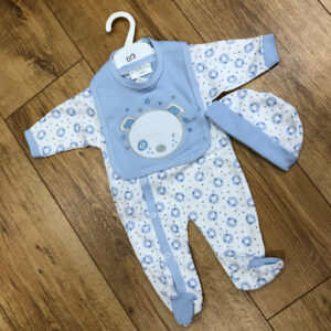 Baby Puppy hat bib & babygrow set