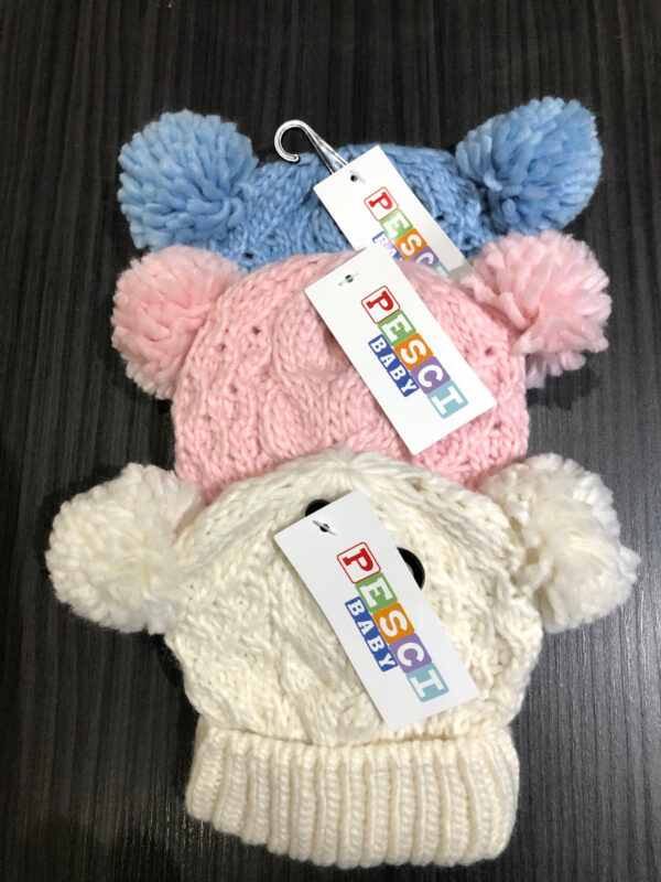 double pom pom knitted hat
