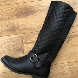 leather look quilted boots