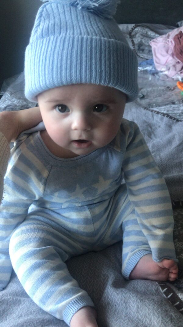 Baby boy's knitted two piece set