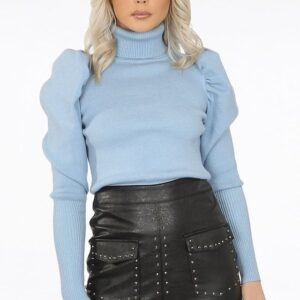 High neck puff sleeve jumper