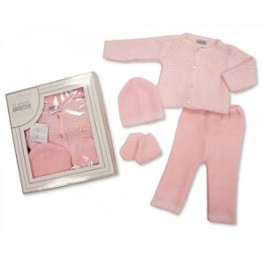 knitted baby girls 4 piece box set