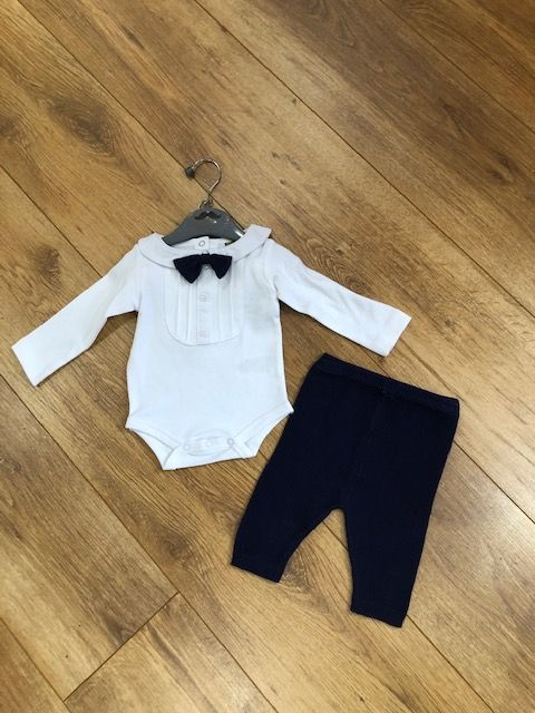 Boys bodysuit with knitted bow tie & knotted pants