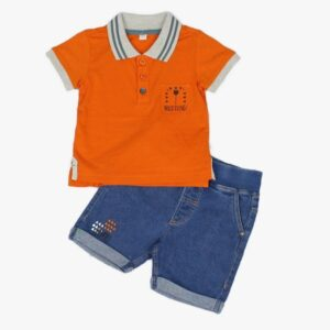 Baby Boys Safari Polo Shirt & Denim Short outfit