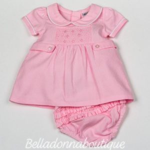 Baby girls smocked dress & pant set