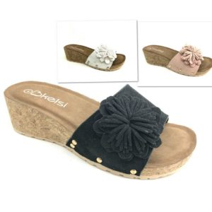Ladies Low Wedge slip on sandal