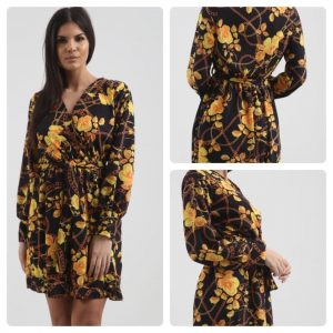 Ladies flower wrap dress