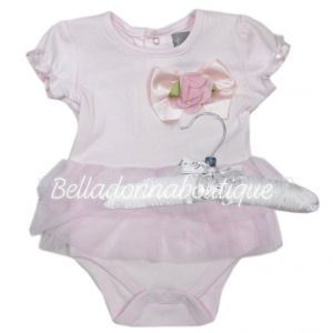 Baby girls bodysuit with flower & TuTu on a satin hanger
