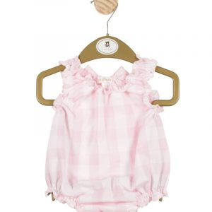 Girls White & Pink Romper with Ruffle Neck & Bow