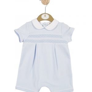 Boys blue Romper with white collar