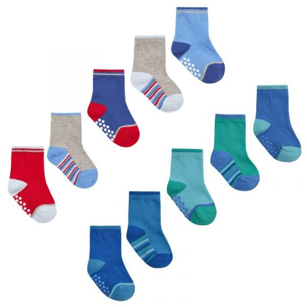 Baby Boy 5 Pack Heel Toe socks with Gripers