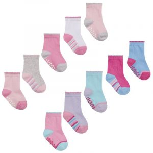 Baby Girls 5 pack Heel & Toe socks with Grippers