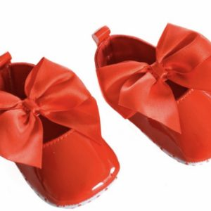 Baby Girls Red Shiny Pram Shoes