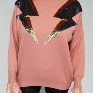 Lace Cuff Sequin Jumper