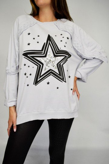Crochet Trim Italian Star Fashion Sweatshirt