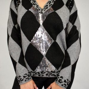 Diamond Knit Sequin Jumper