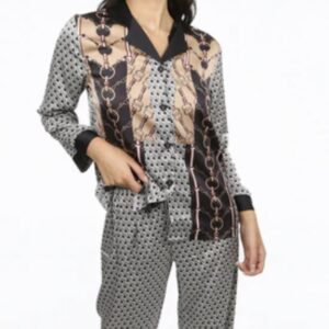 Monochrome print Silk Pyjama Set