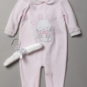 Baby Girls Bunny applique Velour All in One