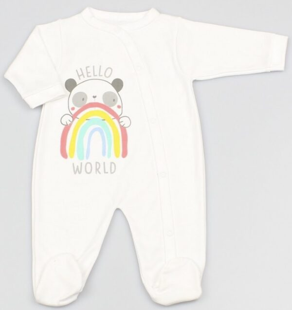 Hello World Panda Rainbow Sleepsuit