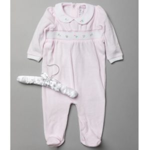 Smocked Velour All In One