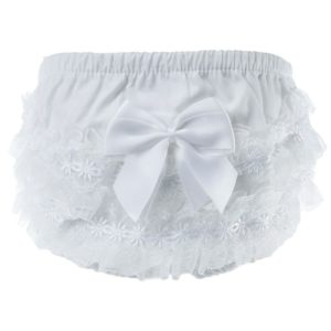 White Cotton frilly pants