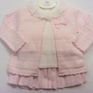 Pink Pleated Knitted Set